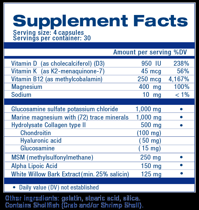 Super Joint Support Supplement Facts by The Health Back Institute